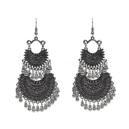 Traditional Indian Silver Hook Dangle With Beads Women's Earrings - DChyper