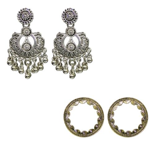 Traditional Combo Of 2  Dangler Stud Women's Oxidized Earrings - DChyper