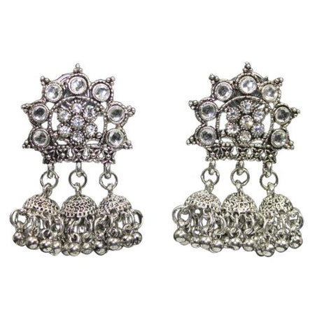 Traditional Austrian Stone Jhumka Women's Silver Bead Earrings - DChyper