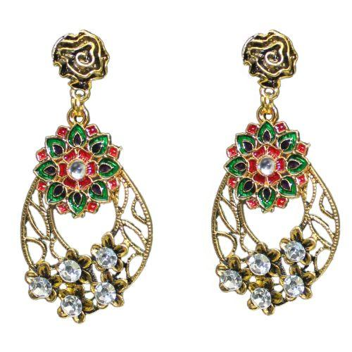 Traditional Indian Austrian Stone Meenakari Women's Earrings - DChyper