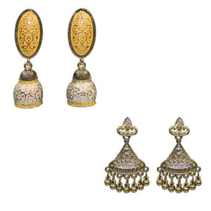 Traditional Combo Of 2 Fancy Meenakari Dangle Women's Earrings - DChyper