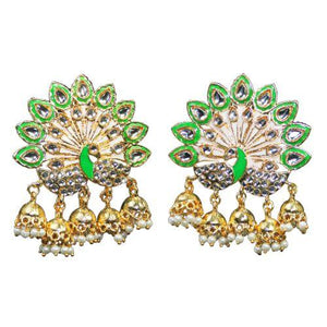 Traditional Peacock Meenakari Dangler Pearls Women's Earrings - DChyper