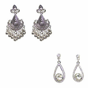 Traditional Silver Combo Of  2  Dangler Studs Women's Earrings - DChyper