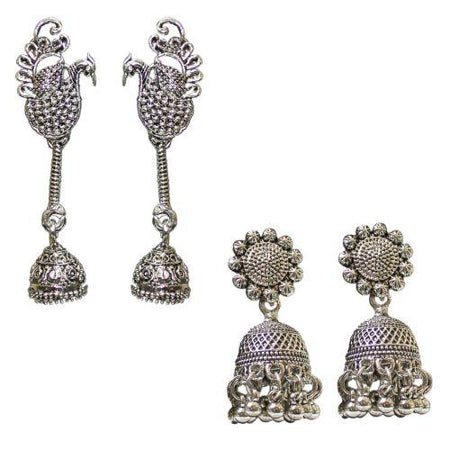 Traditional Silver Combo Of 2 Antique Jhumka Women's  Earrings - DChyper