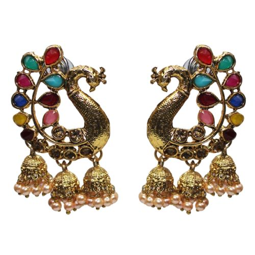 Traditional Crystal Peacock Jhumka With Pearl Women's Earrings - DChyper