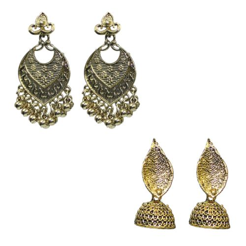 Traditional Golden Combo Of 2 Dangler Jhumkas Women's Earrings - DChyper