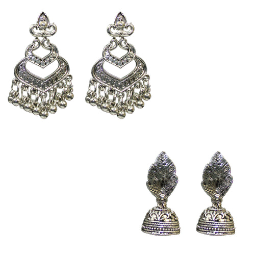 Traditional Combo Of 2 Oxidized Dangle Jhumka Women's Earrings - DChyper
