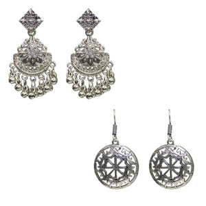 Traditional Combo Of 2 Silver Dangle Oxidised Women's Earrings - DChyper