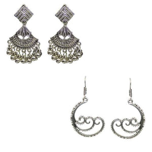 Traditional Combo Of 2 Silver Oxidized Dangle Women's Earrings - DChyper
