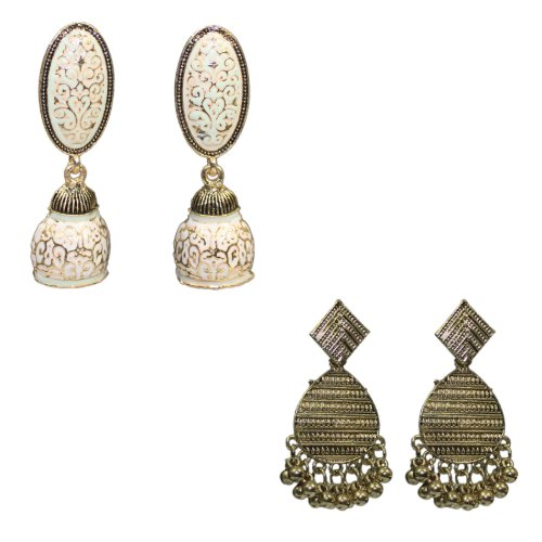 Traditional Combo Of 2 White Meenakari Dangle Women's Earrings - DChyper