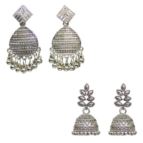 Traditional Combo Of 2 Dangle Jhumkas Women's Fashion Earrings - DChyper