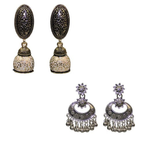 Traditional Combo Of 2 Meenakari Drop Dangler Women's Earrings - DChyper