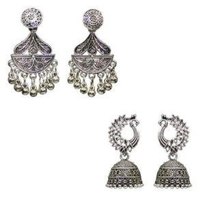 Traditional Silver Combo Of 2 Dangler Jhumkas Women's Earrings - DChyper