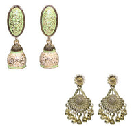 Green Meenakari Dangle Women's Earrings
