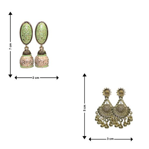 Traditional Combo Of 2 Green Meenakari Dangle Women's Earrings - DChyper