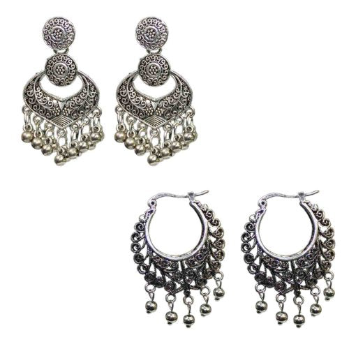 Traditional Silver Combo Of 2 Dangler Women's Fashion Earrings - DChyper