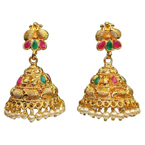 Traditional Temple Glass Stones Jhumka Pearls Women's Earrings - DChyper