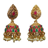Traditional Indian Temple Jhumkas Women's Earrings With Pearls - DChyper