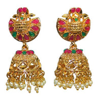 Traditional Indian Temple Glass Stones Jhumka Women's Earrings