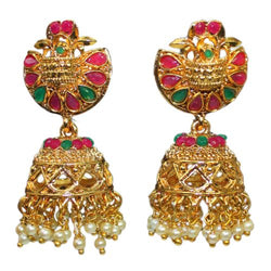 Traditional South Indian Temple Earrings Glass Stones Jhumkas Women's Fashion Earrings With Pearls