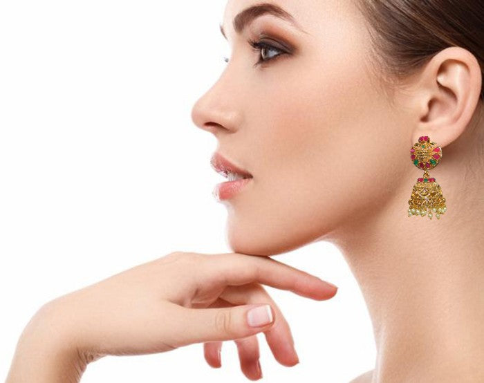 Traditional Indian Temple Glass Stones Jhumka Women's Earrings - DChyper