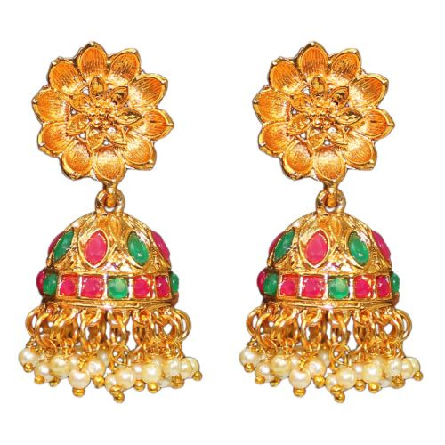 Traditional Temple Glass Stone Jhumka Women's Fashion Earrings - DChyper