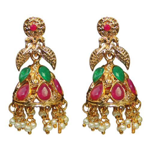 Traditional Temple Crystal With Pearl Women's Fashion Earrings - DChyper