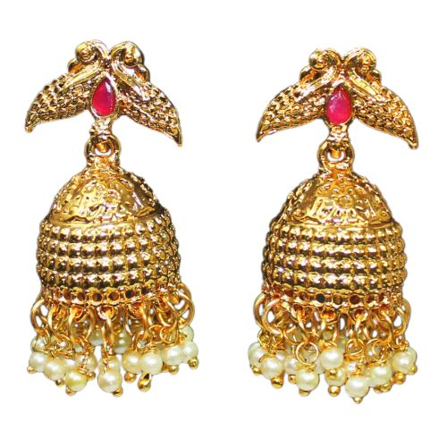 Gold Plated White Pearl Jhumkas Earrings