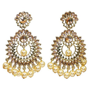 Traditional Golden Kundan Dangler Women's Earrings With Pearls - DChyper
