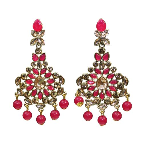 Traditional Indian LCD Stone Dangle Pink Beads Women's Earrings - DChyper
