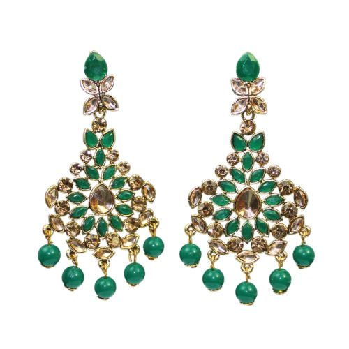 Traditional Indian Green Dangler Bead Women's Fashion Earrings - DChyper