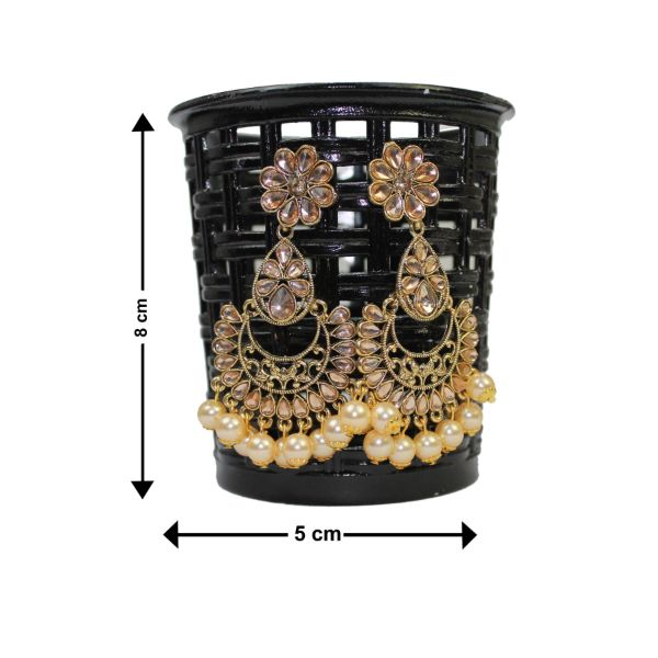 Traditional Indian Golden Kundan Dangle Pearl Women's Earrings - DChyper