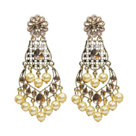 Traditional Golden LCD Stone Dangle With Pearls Women's Earrings - DChyper