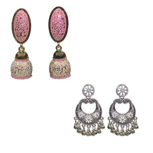 Traditional Combo Of 2 Pink Meenakari Dangler Women's Earrings - DChyper