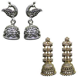 Indian Traditional Combo Of 2 Jhumkas Women's Fashion Earrings - DChyper