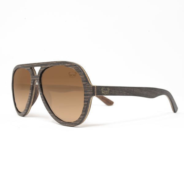 Premium Aviator Sunglasses, Solid Wood Frame