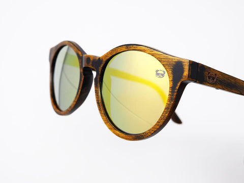 Oval Distressed Wooden Sunglasses with Yellow Lenses