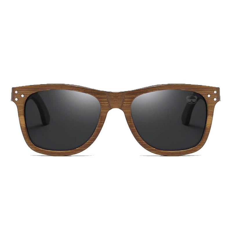 Wooden Sunglasses Polarized Lenses UV400, Dark Brown with Pin Detail with Bamboo Case Sunglasses FreshForPandas Dark