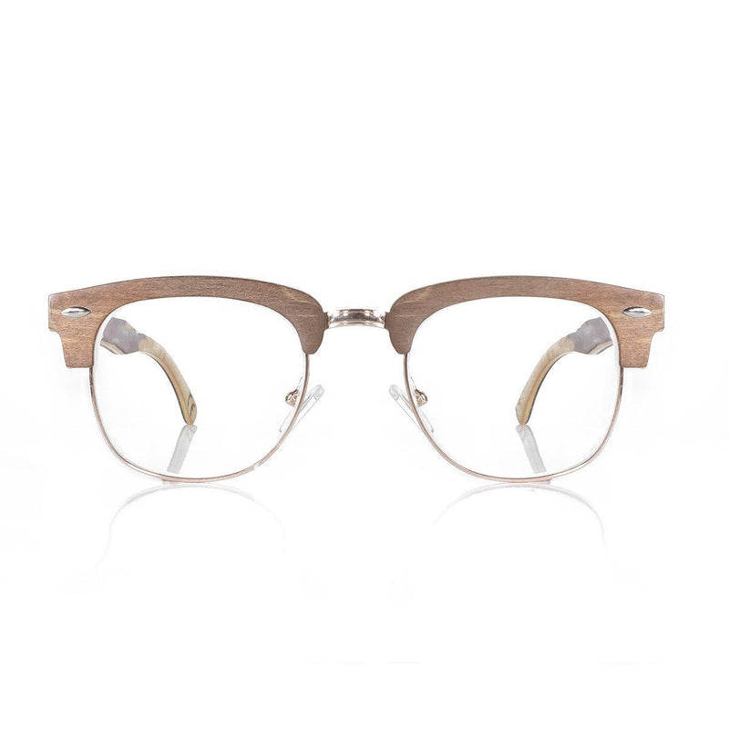 Blue Light Protection Glasses Natural Wood Half Rim 037bl Eyeglasses FreshForPandas