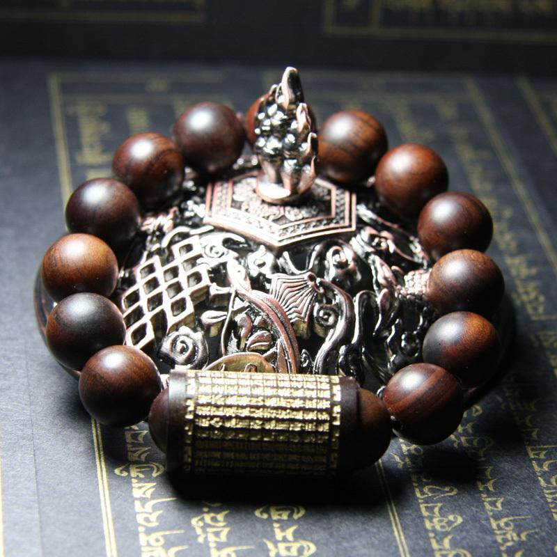 Lettering Jujube Wood Prayer Beads with Buddhist Text Bracelet 1.3cm bracelet FreshForPandas