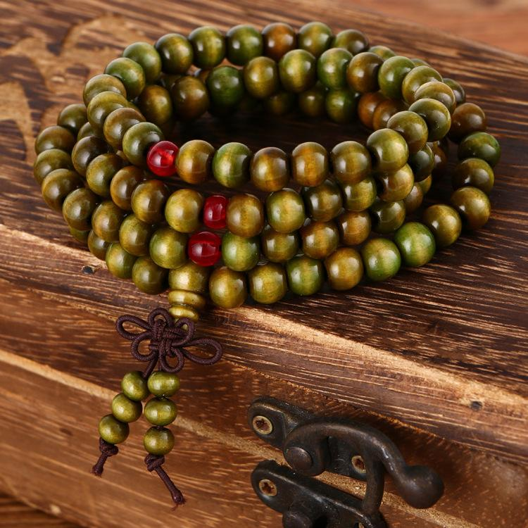 108pc 8mm Natural Sandalwood Prayer Malas Wooden Bracelet