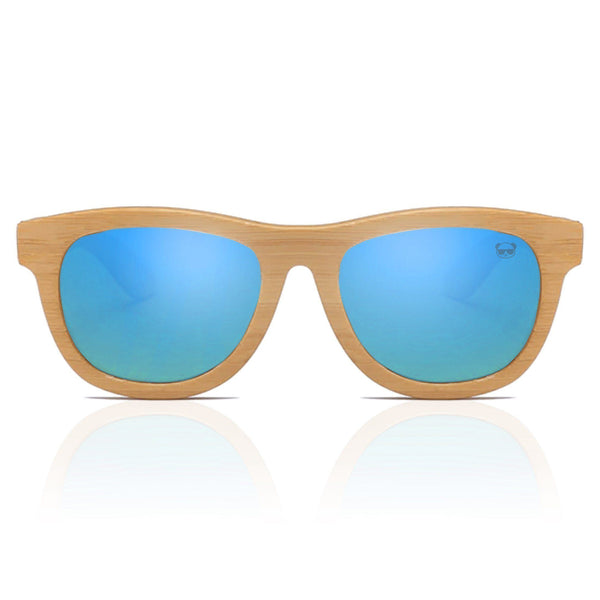 Premium Layered Wood Sunglasses with Bamboo Case Sunglasses FreshForPandas blue