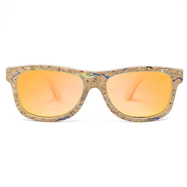 Cork Wayfarer Sunglasses with coloured marble effect Sunglasses FreshForPandas Orange
