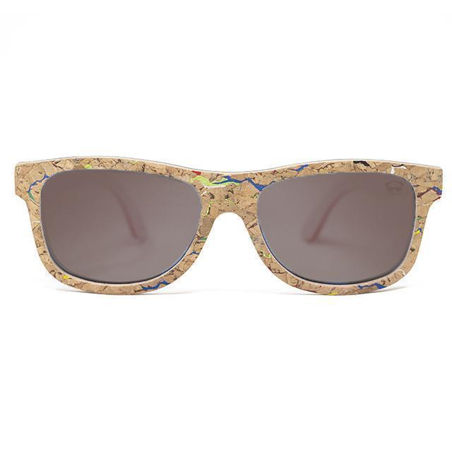 Cork Wayfarer Sunglasses with coloured marble effect Sunglasses FreshForPandas Brown