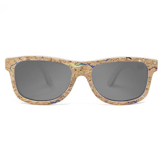 Cork Wayfarer Sunglasses with coloured marble effect Sunglasses FreshForPandas Dark