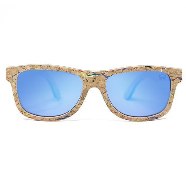 Cork Wayfarer Sunglasses with coloured marble effect Sunglasses FreshForPandas Blue