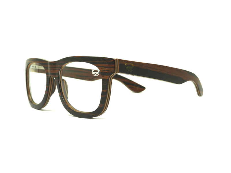 Dark Layered Wooden with Stripe Effect Eyeglasses 043ps Eyeglasses FreshforPandas