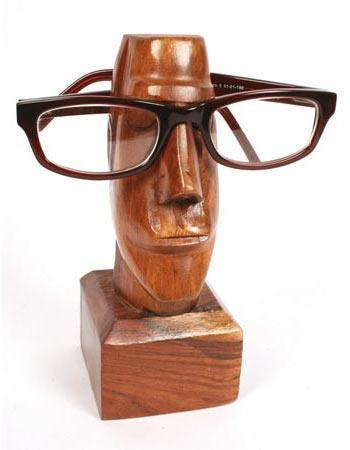 Wooden Spectacle stand Easter Island Statue 18cm height Home FreshForPandas