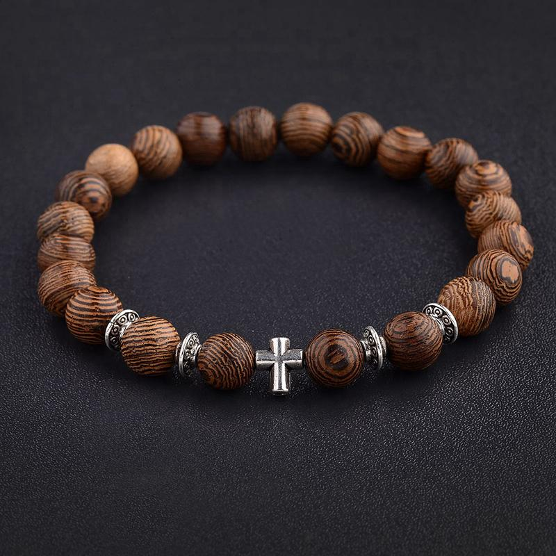 Amader Natural Wood Beads Bracelet Onyx 4 options  ABJ003