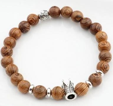 Natural Amader Wood Beads Bracelet Onyx ABJ003 bracelet FreshForPandas King Queen